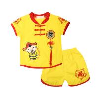 婴儿衣服男夏装宝宝唐装百天女童礼服1-3周岁短袖红色新生儿套装