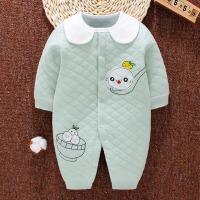 新生的儿宝宝连体衣0-3月婴儿春秋冬季哈衣1岁6保暖加厚爬服 8127豆绿
