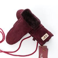 新年优惠【NEW】羊皮毛一体手套连指手闷女冬季保暖户外骑车防风防寒加厚真皮闷子 均码