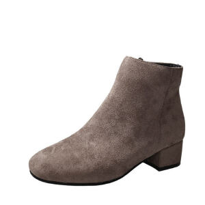 WARORWAR 2019新品YM45-A5888冬季韩版磨砂反绒低跟鞋女鞋潮流时尚潮鞋百搭潮牌靴子马丁靴