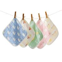 纱布口水巾婴儿毛巾洗脸小方巾喂奶巾手帕 混色装(花色随机)