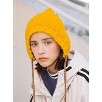 手工编织流苏系带毛线帽子女冬天护耳雷锋帽潮针织帽