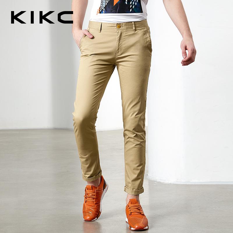 kikc裤子男2017新款休闲裤韩版修身中低腰直筒长裤纯色