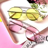 原宿风个性彩色透明眼镜女潮新款太阳镜旅游圆脸蛤蟆镜墨镜女