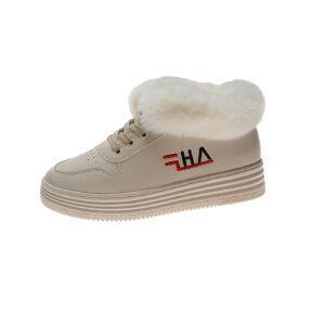 WARORWAR新品YM32-8805加绒冬季休闲松糕底平底舒适女士棉小白鞋