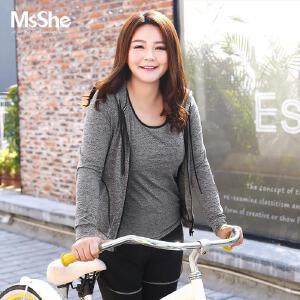 MsShe藏肉大码女装2017新款秋装瑜伽服健身运动胖MM外套M1710546
