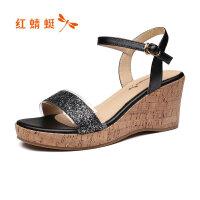 【红蜻蜓限时抢购,1件2折】红蜻蜓凉鞋女鞋夏季新款坡跟厚底亮片百搭休闲一字带凉鞋