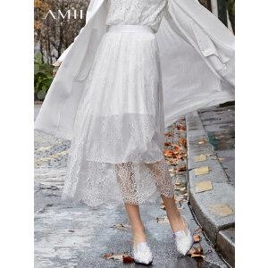 【到手价:129.9元】Amii极简复古小香风仙女半身裙2019春季新款性感透视气质蕾丝裙