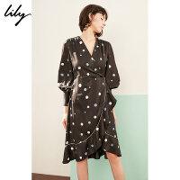 【不打烊价:351元】 Lily春新款女装复古圆点荷叶边花边印花连衣裙119120C7230