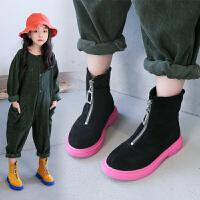 女童靴子儿童皮鞋2019秋冬季新款低筒短靴单靴宝宝学生马丁靴棉靴