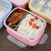 儿童餐盘长方形可爱304不锈钢保温饭盒分格小学生便当盒