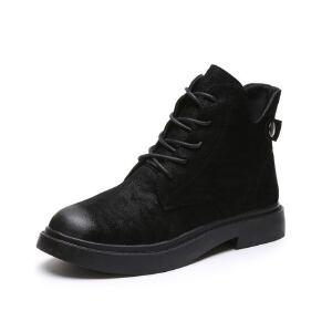 WARORWAR新品YM82-T362冬季韩版平底鞋舒适女士靴子短靴