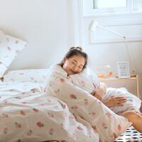 小清新粉红可爱 1.5M床单四件套1.8M床笠老夫的少女心宿舍床品