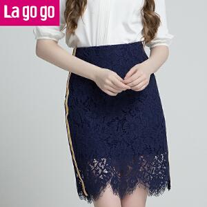 Lagogo/拉谷谷2018年夏季新款时尚气质女蕾丝半裙HABB294H42
