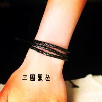 男士手饰个性韩版闺蜜手链男潮学生简约编织皮绳复古手环