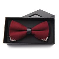 新郎结婚婚礼伴郎服韩版蝴蝶结酒红色领结潮英伦男士礼服领结