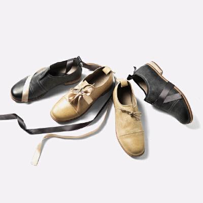 青婉田新款软妹原宿风小皮鞋ulzzang日系手工绑带真皮女鞋低跟尺码正常,脚感舒适,头层牛皮