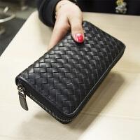 新款欧美编织女士羊皮钱包女长款真皮男女式钱包手拿长款拉链钱夹 黑色