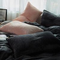 加厚保暖法兰绒单枕套一对装纯色春秋季枕头套珊瑚绒毛绒枕芯 48cmX74cm