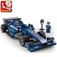 小鲁班积木男孩儿童益智拼插方程式赛车F1拼装玩具车 M38-B0353
