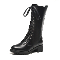 秋冬季新款真皮平底高帮机车靴侧拉链中跟马丁靴女英伦系带军短靴