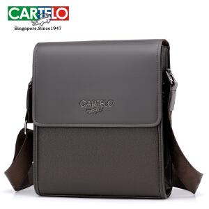 CARTELO/卡帝乐鳄鱼 男包单肩包男士斜挎包新品商务公文包竖款休闲背包男