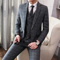 春秋新款潮流格子西装三件套装男英伦绅士发型师新郎结婚礼服正装xx