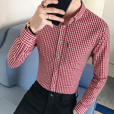 男装韩版春季新款格子个性衬衫寸衫春秋青年男士长袖衬衣36