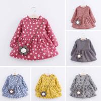 女童秋冬装连衣裙韩版新款童装儿童宝宝花朵挎包多色加绒加厚裙子