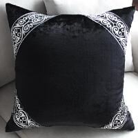 抱枕沙发靠垫办公室床头靠汽车欧式黑灰花边靠枕