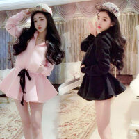春季新款韩版系带收腰甜美加厚保暖加绒连帽大裙摆外套连衣裙