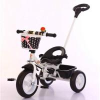 W 儿童脚踏三轮车1-3岁乐宝宝骑行玩具婴儿手推车小孩滑行自行车 黑色 双脚踏旋转推把