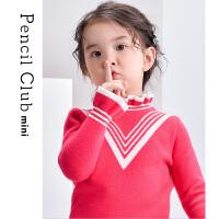 【2件1.5折价:37.2元】铅笔俱乐部童装2021秋季女童套头毛衣洋气小童宝宝针织衫花边高领
