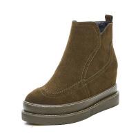 冬加绒欧美厚底高跟马丁靴子女真皮磨砂内增高短靴子拉链保暖靴软底