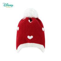 迪士尼Disney童装 儿童帽子女宝宝新款秋冬Q版白雪公主保暖针织帽撞色护耳加绒帽184P813