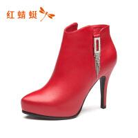 红蜻蜓女鞋冬季新品欧美风细高跟鞋防水台短靴女棉靴短靴