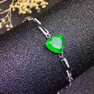 天然祖母绿心形手链,精工镶嵌!祖母绿被称为绿宝石之王