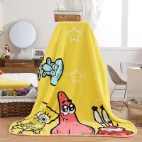 珊瑚绒毛毯床单儿童卡通小毯子法兰绒毯夏季毛巾被办公室午睡盖毯 黄色 送手提袋包装 100cmX140cm