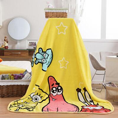 珊瑚绒毛毯床单儿童卡通小毯子法兰绒毯夏季毛巾被办公室午睡盖毯 黄色 送手提袋包装 100cmX140cm 此系列宝贝采法莱绒面料,非常柔软舒适,肤感特别强,面料抚摸起来就像牛奶般润滑,宝