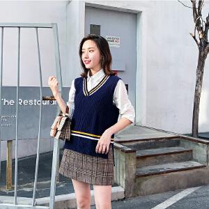 秋冬学院风撞色V领无袖毛衣背心女韩版宽松条纹针织衫毛衣马甲女