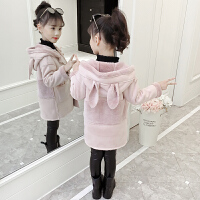 女童毛呢外套秋装2018新款加绒加厚秋冬装儿童洋气呢子大衣潮童装 粉红色
