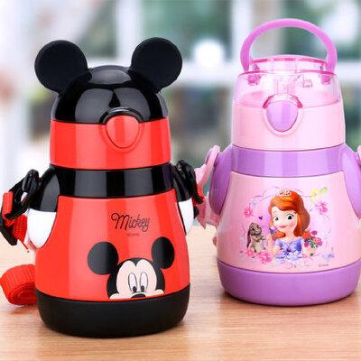 迪士尼宝宝带吸管杯保温杯婴儿水壶防摔杯子幼儿园小孩儿童喝水杯