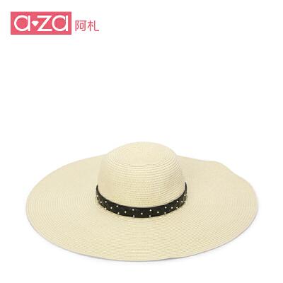 aza阿札2016春夏帽子 时尚可折叠大草帽沙滩帽遮阳帽太阳帽6365