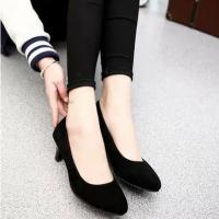 9-7cm工作鞋女圆头高跟细跟黑色职业优雅女防水台正装礼仪3-5公分 黑色 3cm