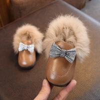 冬季新款女童皮毛一体蝴蝶结水钻橡胶软底防滑一脚蹬公主皮鞋