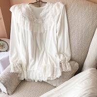 公主风白色睡衣女冬加厚珊瑚绒保暖加厚甜美可爱蕾丝家居服套装