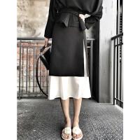 2018早春夏装季新款包臀半身裙子雪纺拼接中长款长裙开叉一步裙女 黑色