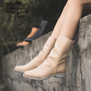 玛菲玛图女靴春秋单靴新款马丁靴女低跟平底圆头中筒靴后拉链牛皮倒靴3301-3