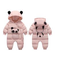 婴儿冬装连体衣男女宝宝加厚新生儿外出抱衣秋冬季羽绒棉爬服套装