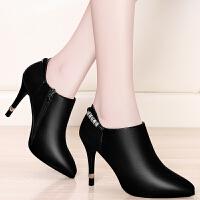盾狐 高跟鞋2017新款韩版尖头单鞋细跟时尚女鞋子秋冬性感皮鞋百搭1722-1